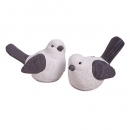 Deko Vogelpaar im Craquelé Stil in Weiß/Grau, 11 cm