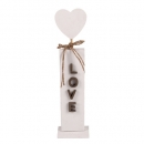 Holz Aufsteller Hochzeit, Herz mit Schriftzug LOVE in Weiß/Braun, 25 cm