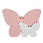 2 Holz Schmetterlinge stehend in Rosa/Weiß, 12 cm