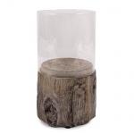 Windlichtglas mit Sockel in Baumstamm-Optik, 18,5 cm