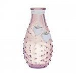 Glas Flaschen Väschen genoppt mit Herzanhänger, in Rosa, 14 cm