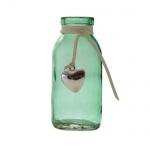 Kleines Glas Väschen mit Herzanhänger in Grün, 10,5 cm