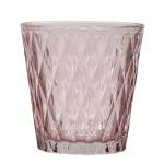 Teelichtglas mit Rautenmuster in Rosa, 75 mm