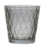 Teelichtglas mit Rautenmuster in Rauchgrau, 75 mm