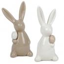 2 Keramik Osterhasen mit Ei in Weiß/Taupe, 13 cm