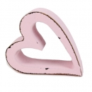 Holz Herz Shabby offen in Rosa, 75 mm