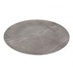 Dekoteller glatt mit Holz Struktur in Grau metallic, 33 cm