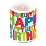 Große Lampion Stumpenkerze Geburtstag, Happy Birthday, bunt, 12 cm