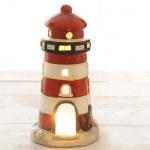 Keramik Windlicht Leuchtturm in Weiß/Rot, 17,5 cm