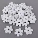 40 Holz Streuteile Blumen in Weiß, 40 mm