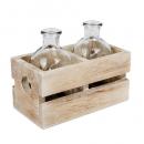 2 Flaschen Väschen in einer Holzkiste, 11 cm