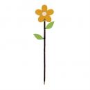 Deko Holz Blumen Pick in Sonnengelb, 31 cm