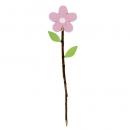 Deko Holz Blumen Pick in Rosa, 31 cm