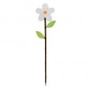 Deko Holz Blumen Pick in Weiß, 31 cm