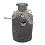 Flaschen Väschen Rustic mit Schleife, Herzanhänger, in Grau, 12 cm