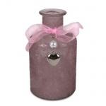 Flaschen Väschen Rustic mit Schleife, Herzanhänger, in Rosa, 12 cm