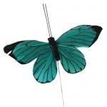 Feder Schmetterling am Draht in Smaragdgrün, 10 cm