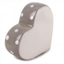 Keramik Herz stehend mit Punkten in Grau, 80 mm