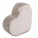 Keramik Herz stehend in Grau, 80 mm