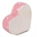 Keramik Herz stehend mit Punkten in Rosa, 80 mm