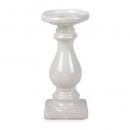 Keramik Kerzenständer in Weiß glasiert, 22 cm
