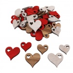 48 Holz Herzen, ausgestanzt, 40 - 50 mm