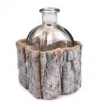 Glas Flaschenvase im Baumrinden-Gestell, 15 cm