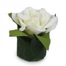 Kunstblume Rosenkopf im Blättertöpfchen in Creme, 80 mm