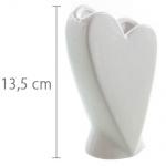 Keramik Tisch Väschen Herz, Hochzeit in Weiß glasiert, 14 cm
