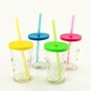 4 Sommer Gläser mit Deckel und Trinkhalm, 11,5 cm