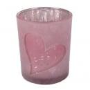 Teelichtglas Herzen, verspiegelt in Hellrosa gefrostet, 85 mm