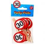 12 Holzspieße 30. Geburtstag, Party Picks, 80 mm