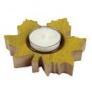 Holz Teelichthalter Ahornblatt in Gelb, 10 cm