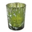 Kleines Teelichtglas Herbst Blätter in Grün, verspiegelt, 68 mm