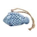 Keramik Fisch mit Schuppen zum Aufhängen in Blau, 60 mm