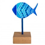 Maritimer Deko Holz Fisch auf Sockel, Nr. 2, 15 cm