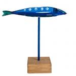 Maritimer Deko Holz Fisch auf Sockel, Nr. 3, 17 cm