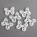 6 Holz Schmetterlinge Vintage, ausgestanzt in Weiß, 70 mm