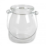 Kleines Glas Väschen, Windlicht mit Henkel, 85 mm