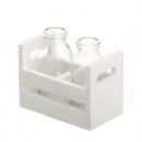 2 Flaschen Väschen im weißen Holzgestell, 12,5 cm