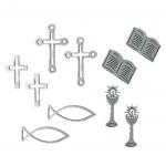 10 Holz Streuteile Christliche Motive in Silber