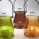 Glas Windlicht in 3 Farben zur Gartendeko