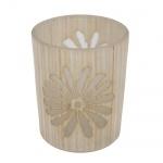 Teelichtglas mit Blumenmotiv in Holzoptik creme