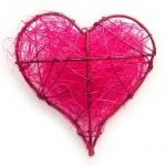 Draht Sisal Herz in Pink