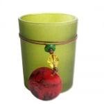 Teelichtglas matt mit Anhänger in Dunkelgrün
