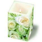 Eckige Kerze White Roses, 120 mm