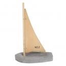Deko Beton Boot mit Holzsegel, 22 cm