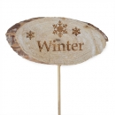Holz Scheibenstecker -Winter-, 29 cm