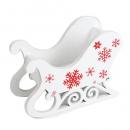 Deko Holz Schlitten in Weiß mit roten Eiskristallen, Weihnachten, 12 cm