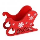 Deko Holz Schlitten in Rot mit weißen Eiskristallen, Weihnachten, 12 cm